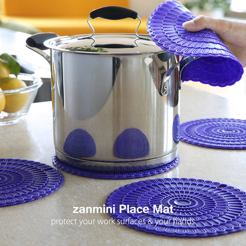 Zanmini 4pcs Trivet Mats/Hot Pads,Insulation, Durable, Flexible Hot Pads,Pot Holders, Spoon Rest, Jar Opener.(purple)