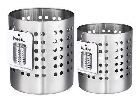 "Kitchen Utensil Holder, KSENDALO Stainless Silverware Holder Set of 2, Kitchen Utensil Drying Cylinder,utility for Kitchen/Home/Office, Diameter 4.72""&3.94""(L&S)"