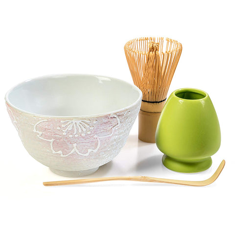 Tealyra - Matcha - Start Up Kit - 4 items - Matcha Green Tea Set - Japanese Handmade Earthenware White Bowl - Bamboo Whisk and Scoop - Whisk Holder - Gift-Box