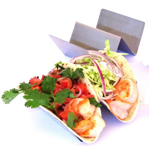 Taco Holder - Taco Holders - Taco Stand - Taco Tray - Taco Rack - Stainless Steel Taco Holder (Holds 2 Tacos - 2 Pack)
