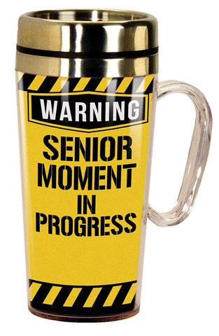 Spoontiques 17290 Senior Moment Insulated Travel Mug, Yellow
