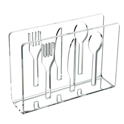 Modern Clear Acrylic Cut-Out Utensil Design Upright Tabletop Napkin Holder Stand Rack - MyGift