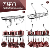Home vdomus square grid wall mount pot rack bookshelf rack with 10 hooks kitchen cookware 24 by 10 inch sliver