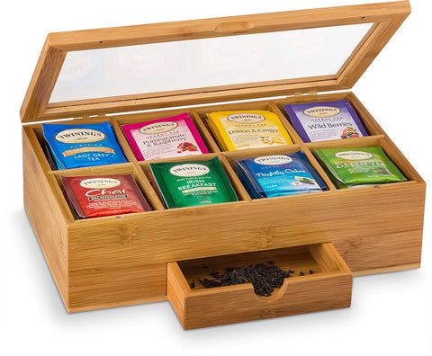 Bambusi Tea Storage Box Organizer Chest - 100% Bamboo Tea Bag Holder | 8 Storage Compartments Organizer with Drawer | Great Gift Idea