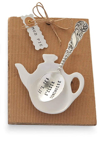 Mud Pie It's Tea O'clock Tea Pot and Spoon, Silver