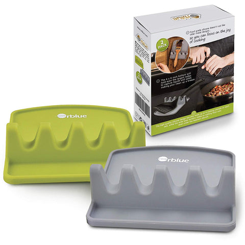 Orblue Giant Spoon Rest - Silicone Utensil Rest w/ 2 Color Coded Ladle & Spoon Holder - Lime Green & Slate Gray