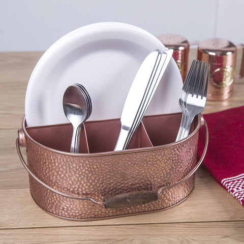 Le'raze Elegant 4-Compartment Kitchen Utensil Holder, Hammered Copper Galvanized Caddy with Wooden Handle for Cutlery Crock, Countertop Organizer