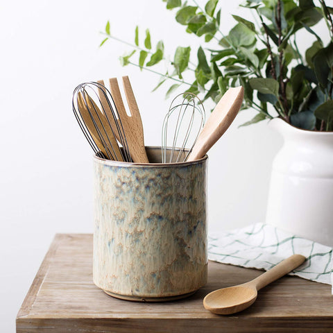 Ceramic Utensil Crock Utensil Holder, (Beige)
