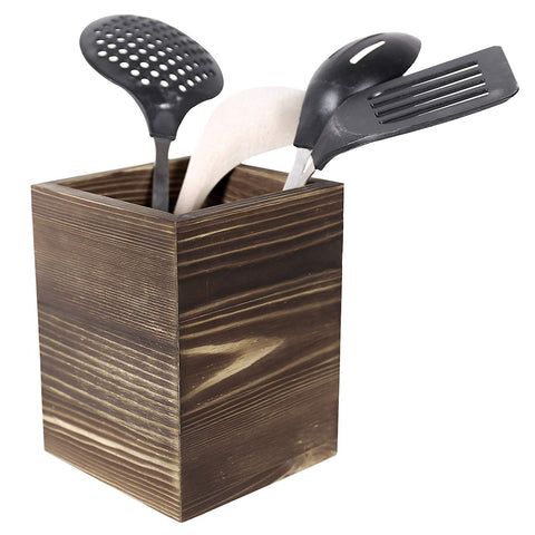 Rustic Torched Wood Kitchen Utensil Holder, Counter Top Cooking Tools Cup, Brown