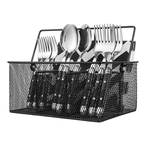 IDEAL TRADITIONS Kitchen Utensil Holder Silverware Condiment Flatware Caddy Cutlery Spoon Utensils Holder for Picnic Table Organizer