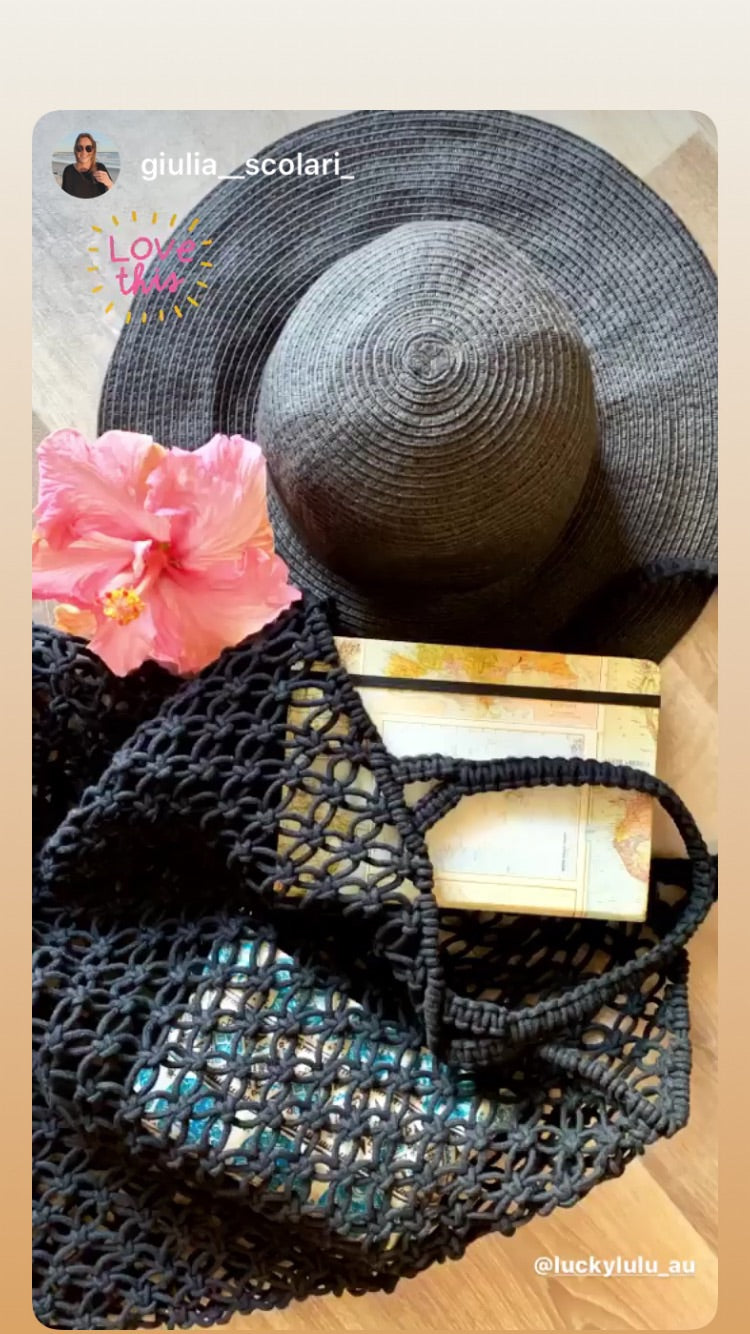 Macrame Handmade Shopper Tote Black