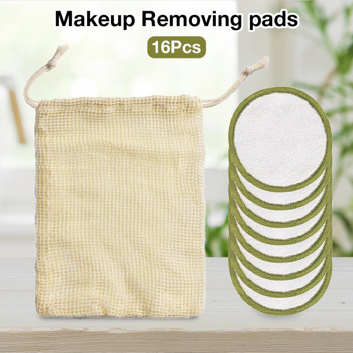 16Pcs Makeup Remover Pads Reusable Cotton + Bamboo Fiber