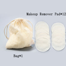 Load image into Gallery viewer, 12Pcs Makeup Remover Pads Reusable Cotton + Bamboo Fiber