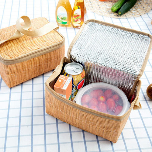 Wicker Picnic Basket Outdoor Tableware Box Lunch - LuckyLuLuAust