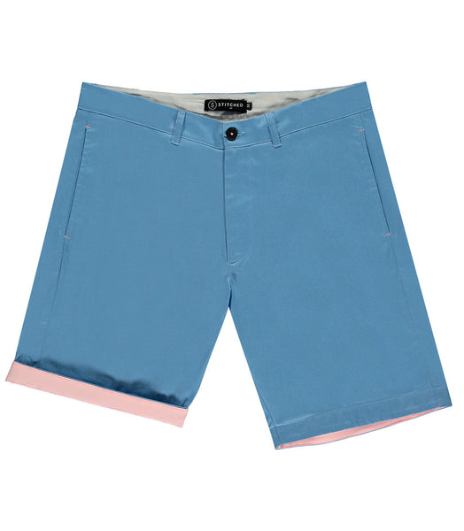 Stitched short sky blue mens shorts
