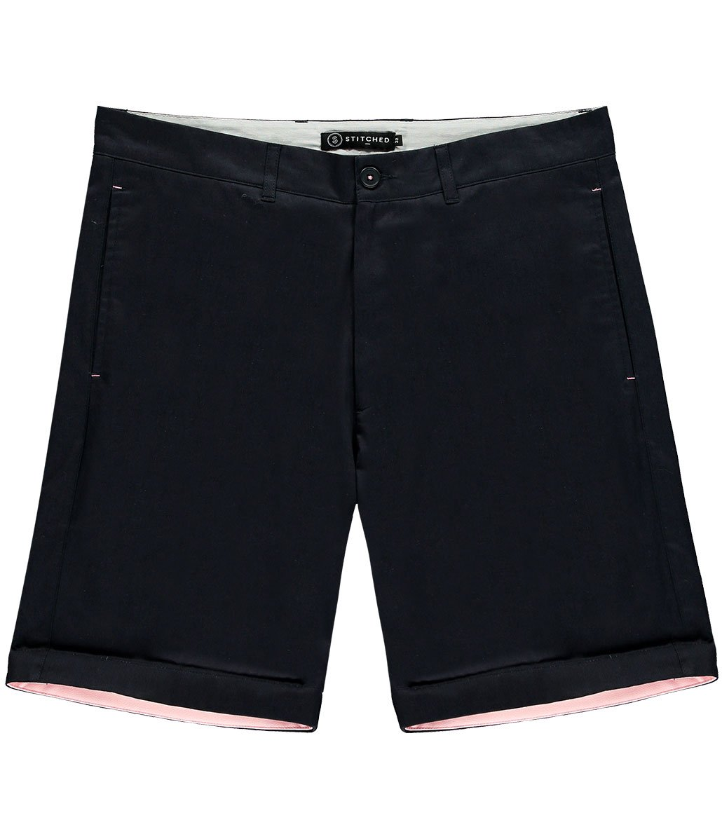 The Bluebird Navy Cotton Shorts