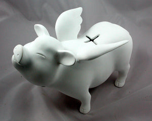 Flying Pig - Custom Piggy Bank w/ glitter