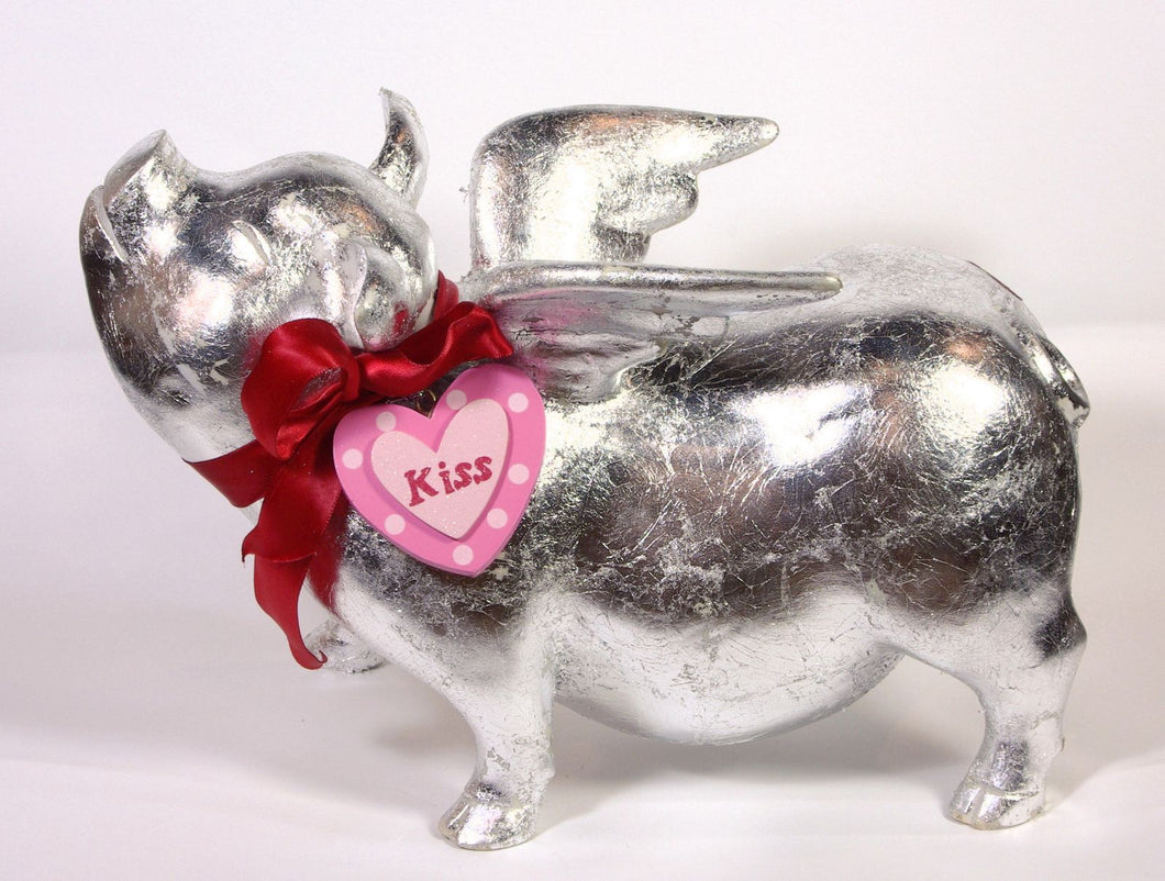 Flying Pig - Silver leaf lacquered