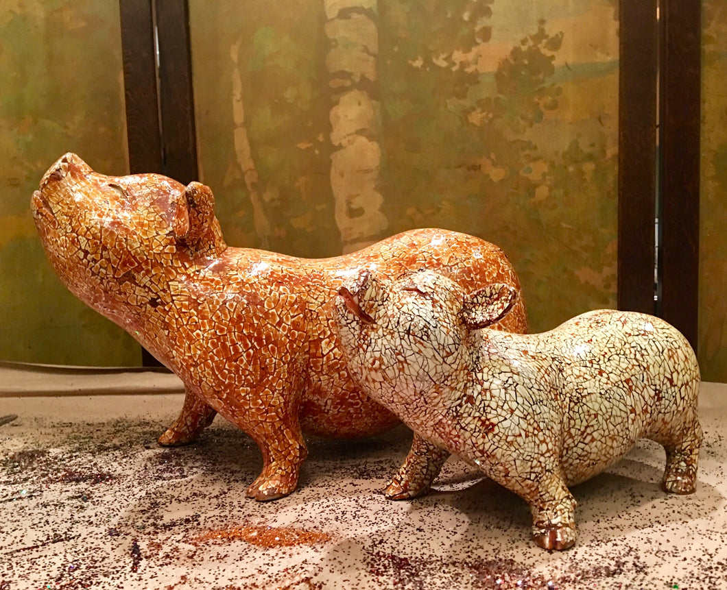 Pig without wings - Crushed Eggshells Inlaid