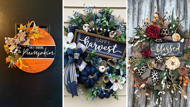 Now that Autumn is officially in full effect, we thought about going back to our trusty old door hanger to use as one of the first seasonal decor items on your home