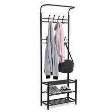 Discover moorecastle multi purpose entryway shoes storage organizer hall tree bench with coat rack hooks clothes stand perfect home furniture