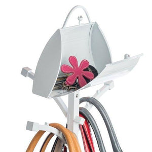 On amazon pursenal butler open top antique white short purse stand iron handbag hanger rack and holder for hats scarfs clothing and jackets multi color storage display organizer with hooks adjustable short stand 42 inches max height and scratch resistant f