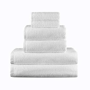Storage vip guest supplies luxury hotel spa quality 6 piece towel set 2 bath towels 2 hand towels 2 washcloths premium turkish cotton bamboo maximum softness and durability extra large bulk white