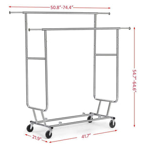 The best topeakmart commercial grade adjustable double rail clothing hanging rack on wheels rolling garment rack drying rack w wheels chrome finish