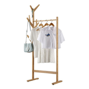 Exclusive langria single rail bamboo garment rack with 8 side hook tree stand coat hanger and four stable leveling feet for jacket umbrella clothes hats scarf and handbags natural wood finish