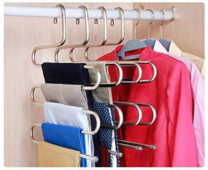 Idea2go (3 Pack) Stainless Steel Hanger, beegod S-Shape S-Type 5 Layers Multi-Purpose Hangers Storage Rack for Clothes Pants Jeans Scarf Tie