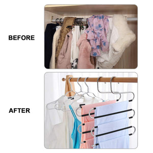 STAR-FLY Pants Hangers Non Slip Updated S-Shaped 5 Layers Hangers Closet Space Saver for Jeans Scarf Tie Clothes(6-Pack)