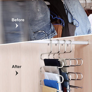 HonTop 5 Pack S-Type Multi-Purpose Pants Hangers Rack Stainless Steel Magic for Hanging Trousers Jeans Scarf Tie Clothes,Space Saving Storage Rack 5 Layers (5PCS)