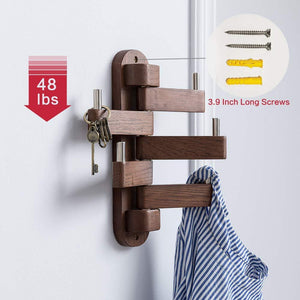Buy solid wood swivel coat hooks folding swing arm 5 hat hanger rail multi foldable arms towel clothes hanger for bathroom entryway bedroom office kitchen kids garage wall mount accessories walnut wood