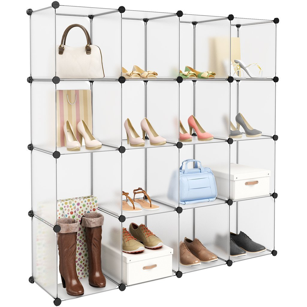 Products langria 16 cube modular clothes shelving storage organizer diy plastic shoe rack cabinet translucent white