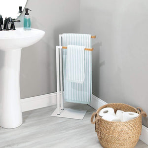 Latest mdesign tall modern metal and bamboo wood towel rack holder 2 tier organizer for bathroom storage and organization next to tub or shower holds bath hand towels washcloths white natural