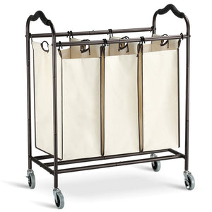 Exclusive bbshoping organizer laundry hamper cart dirty clothes organibbshoping zer for bathroom bedroom utility room powder coated beige