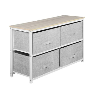 Top aingoo dresser storage 4 drawers storage bedroom steel frame fabric wide dressers drawers for clothes grey wood board 2x2 drawers grey