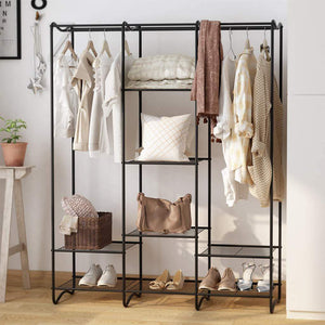 Discover the best langria large free standing closet garment rack made of sturdy iron with spacious storage space 8 shelves clothes hanging rods heavy duty clothes organizer for bedroom entryway black