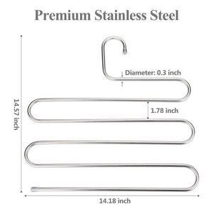 TRUSBER Stainless Steel Pants Hangers, S-shape Metal Clothes Racks with 5 Layers for Closet Organization, Space Saving for Pants Jeans Trousers Scarfs, Durable and No Distortion, Silver (Pack of 4)