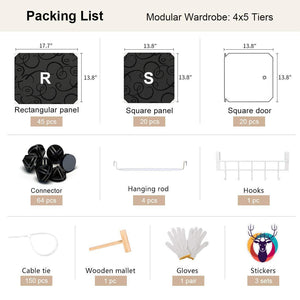 Best seller  yozo closet organizer portable wardrobe cloth storage bedroom armoire cube shelving unit dresser cabinet diy furniture black 20 cubes