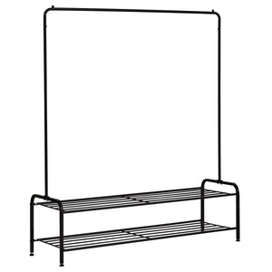 New clothes rack metal garment racks heavy duty indoor bedroom cool clothing hanger with top rod and lower storage shelf 59 x 60 length x height high storage rack black