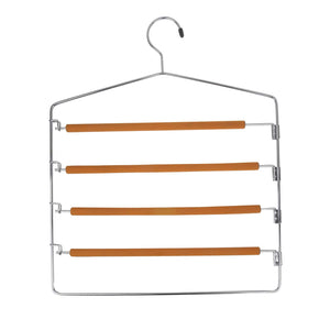 TAKOYI Clothes Pants Hangers Space Saving Non Slip Trouser Hangers Stainless Steel, Multi Layer Metal Pant Hangers, Foam Padded Swing Arm Pants Hangers Closet Storage Organizer (Orange, 4 Pack)