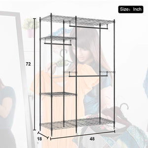 Best hanging closet organizer and storage heavy duty clothes rack sturdy 3 rod garment rack large with wire shelving height adjustable commercial grade metal clothes stand rack for bedroom cloakroom black