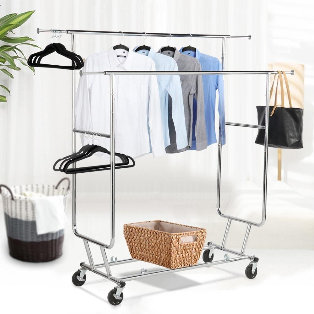 Shop topeakmart commercial grade adjustable double rail clothing hanging rack on wheels rolling garment rack drying rack w wheels chrome finish