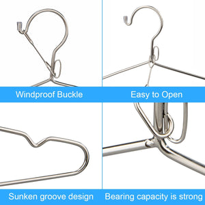 Anles Windproof hanger Strong Metal Stainless Steel Clothes Hangers 20 pcs