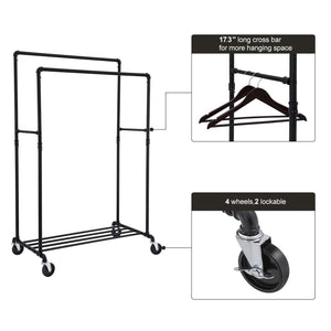 Budget songmics industrial pipe double rail wheels with commercial grade clothing hanging rack organizer for garment storage display black uhsr60b