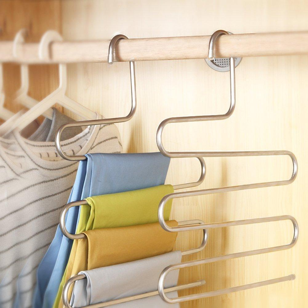 S-Type Stainless Steel Clothes Pants Hangers for Closet Organization with Multi-Purpose for Space Saving Storage (10 Pack)