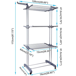 Discover voilamart clothes drying rack 3 tier with wheels foldable clothes garment dryer compact storage heavy duty stainless steel hanger laundry indoor outdoor airer