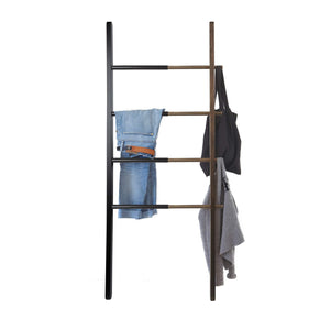 Results umbra hub ladder adjustable clothing rack for bedroom or freestanding towel rack for bathroom expands from 16 to 24 inches with 4 notched hooks black walnut
