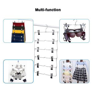 6-Tier Skirt Hangers,STAR-FLY Space Saving Pants Hangers Sturdy Multi-Purpose Stainless Steel Pants Jeans Slack Skirt Hangers with Clips Non-Slip Closet Storage Organizer(3pcs)